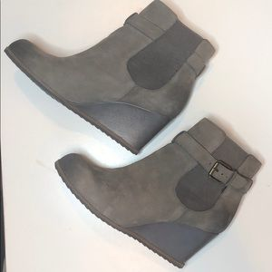 Gray Wedge Ankle Booties